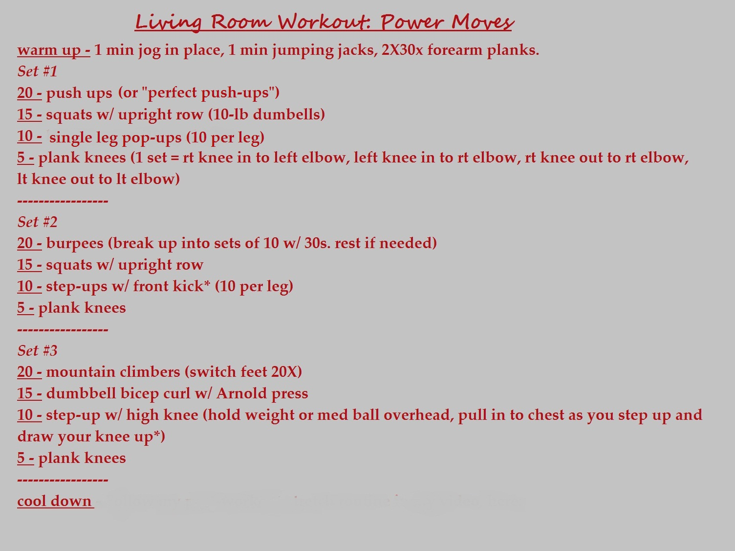 living room workout | Concrete N Coffee